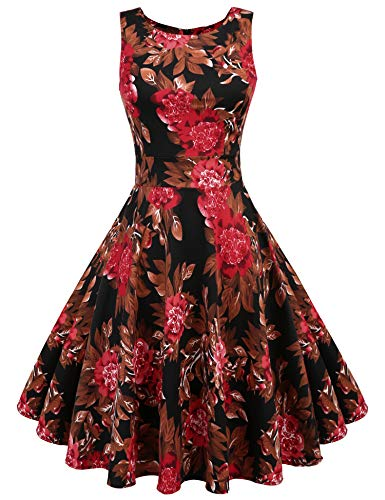 - ARANEE Vintage Classy Floral Sleeveless Party Picnic Party Cocktail Dress