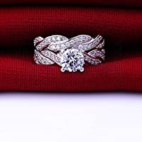Jewelrypalace Women's 1.5ct Infinity Cubic Zirconia CZ Solid 925 Sterling Silver Wedding Band Anniversary Engagement Ring Set