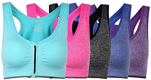 taigee Women's Zipper Front Closure Sports Bra Zipped Workout Yoga Bras Pack Of 5 XXL