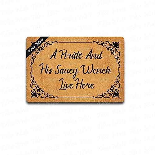 (Cindy&Anne A Pirate and His Saucy Wench Live here Doormat 23.6