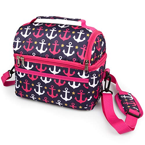 Insulated Durable Lunch Bag - Reusable Lunch Box Tote With Handle and Pockets - Dome Nautical