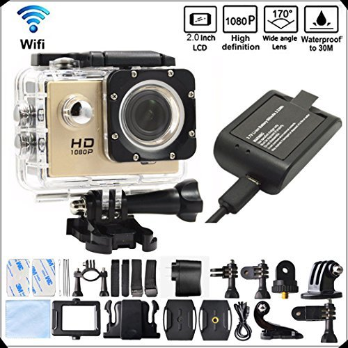DITONG DT71 4K Ultra HD Action Camera Wifi 1080P 60fps 16MP/12MP 2.0 inch Waterproof Sports Video Camera Car Helmet Camcorder with 2pcs Batteries(Gold) [並行輸入品] B075SH46TN