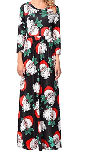 Christmas Waist Print Length As9 Sleeve Dress Long Full Coolred Empire Women wnRq7xHET