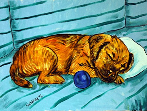 Border terrier sleeping on a blue striped couch decor dog signed art Print