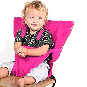 (Rosy) - Pueri Baby High Chair Harness Feeding Booster Seat Strap Harness Belt Portable Travel Safety High Chair Seat Cover for Baby Kid Toddler (Rosy) 1