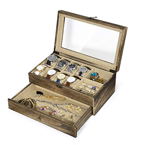 RooLee Watch Box Case, Rustic Wooden Jewelry Box Organizer, 10 Versatile Slots with 8 Removable Watch Pillows
