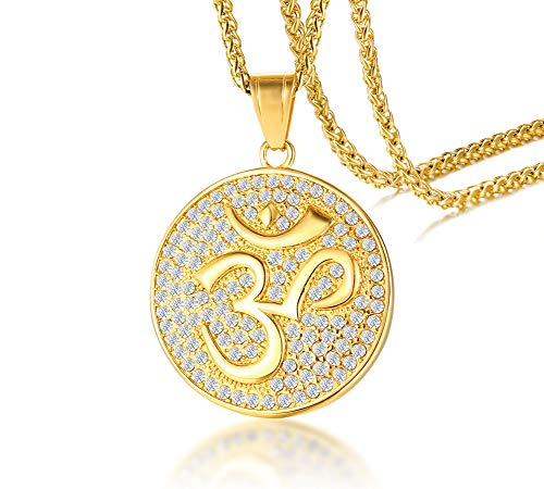 Men's Buddha Namaste Ohm Om Aum Sanskrit Symbol Medallion Pendant Necklace with CZ,Hindu Yoga Jewelry