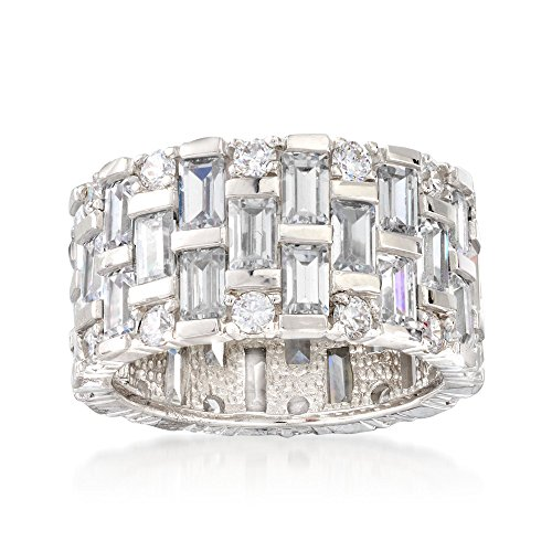 Ross-Simons 6.50 ct. t.w. Baguette and Round CZ Eternity Band in Sterling -
