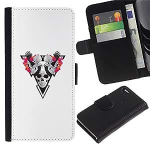 LECELL--Cuero de la tarjeta la carpeta del tirón Smartphone Slots Protección Holder For Apple Iphone 4 / 4S -- Cráneo Triángulo --