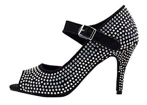Tda Donna Single Cinturino Stiletto Tacco Alto Fibbia Cristalli Raso Salsa Moderna Scarpe Da Ballo Ballo Latino 8.5cm Nero