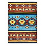 N2 1 Piece 60x80 Oversized Gold Yellow Tan Brown Blue Southwest Throw Blanket, Southwestern Bedding Native American Decor Tribal Western Red Stripes Lightweight Warm Indian, Polyester
