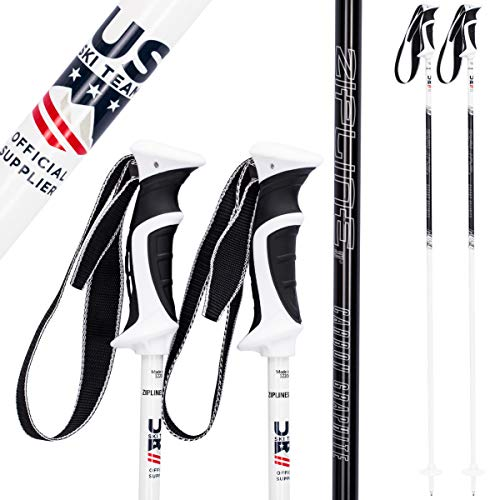 Zipline Ski Poles Carbon Composite Graphite Lollipop U.S. Ski Team Official Ski Pole - Choose from Colors and 10 Sizes (Black Liquorice Swirl, 52