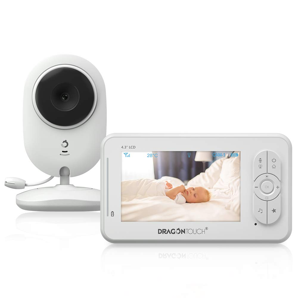 Baby Monitor, Dragon Touch DT40 4.3 Inch Video Baby Monitor with Camera, Infrared Night Version, Support Multi Cameras, Temperature Monitoring, Lullaby, Two-Way Audio and VOX Auto Baby Camera