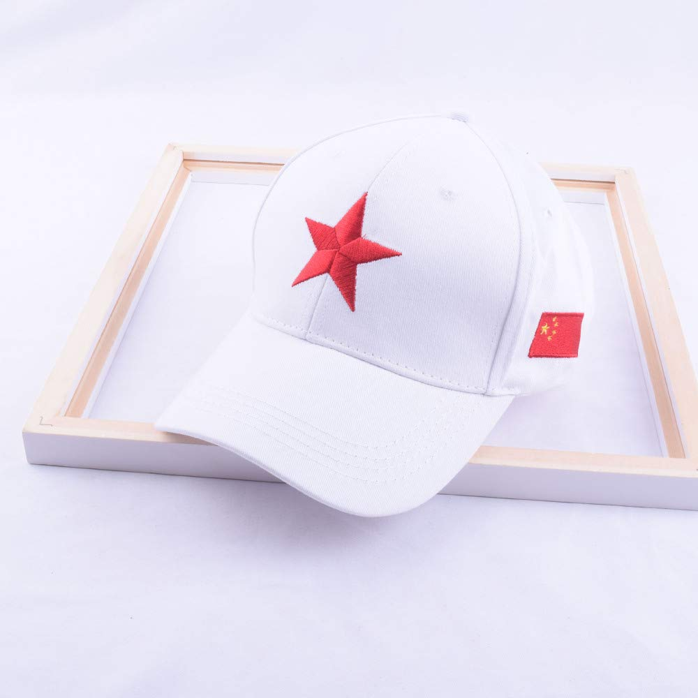 zhuzhuwen Gorra de béisbol con Bandera roja de Cinco Puntas ...
