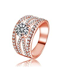 Women's Cubic Zirconia Rhodium Plated Criss Cross Statement Cocktail Ring Size 6-9