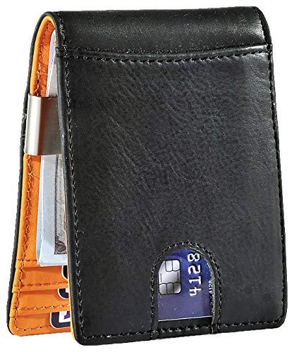 Easyoulife Men's RFID Slim Front Pocket Wallet with Money Clip Genuine Leather (A - Black Mens Clip Wallets Money