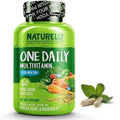 NATURELO One Daily Multivitamin for Men 50+ - with Whole Food Vitamins & Organic Extracts - Natural Supplement - Best for Energy, General Health - Non-GMO - 60 Capsules | 2 Month Supply