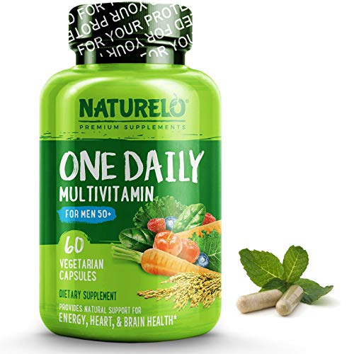 NATURELO One Daily Multivitamin for Men 50+ - with Whole Food Vitamins - Organic Extracts - Natural Supplement - Best for Energy, General Health - Non-GMO - 60 Capsules | 2 Month Supply