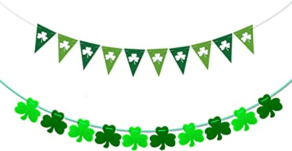 Belrew Lucky Irish Banner for St Patricks Day Decorations Irish lucky Clover Shamrock Garland Banner Flags-Green Glitter