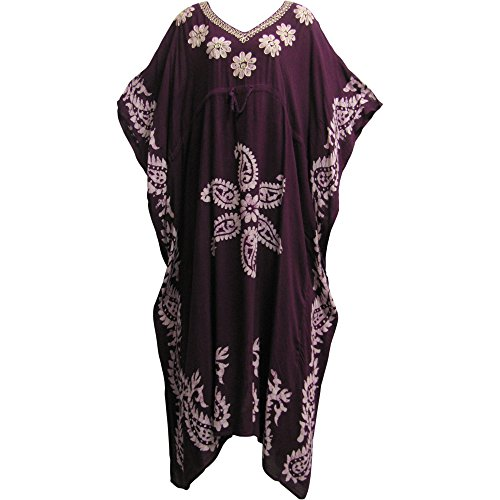 Yoga Trendz Indian Boutique Embroidered Paisley Bohemian Gypsy Long Caftan/Kaftan Dress (No5 Plum)