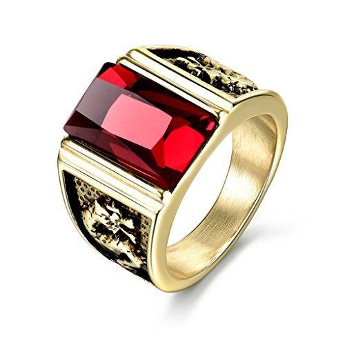 MASOP Anti Allergy Stainless Steel Ring Engraved Dragon Red Garnet Ruby Color Stones Mens Wedding Rings