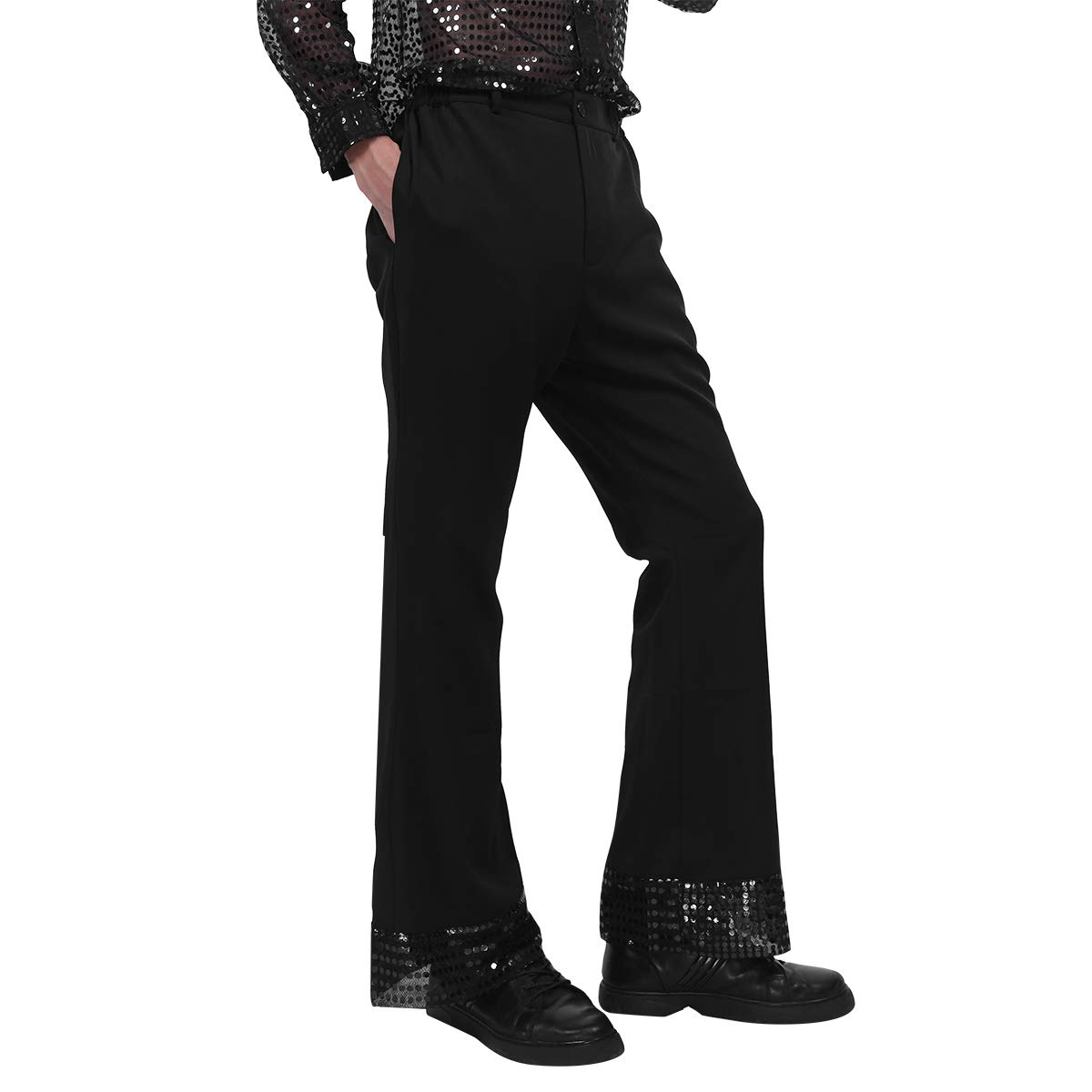 inhzoy Mens Sequins Cuffs Disco Dude Costume Retro 70s Disco Pants Dance Long Trousers Bell Bottoms