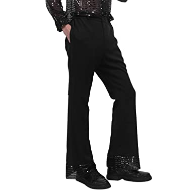 9efebb3c608 ranrann Men s Sequin Cuff Bell Bottom 70 s Disco Pants Flared Trousers Dude  Costume Black Medium