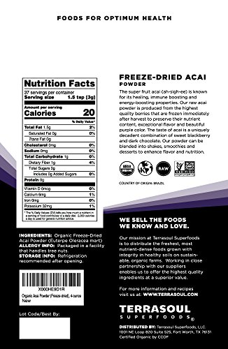 Terrasoul Superfoods Organic Acai Berry Powder, 4 oz - Freeze-Dried | Antioxidants | Omega Fats by Terrasoul Superfoods (Image #1)