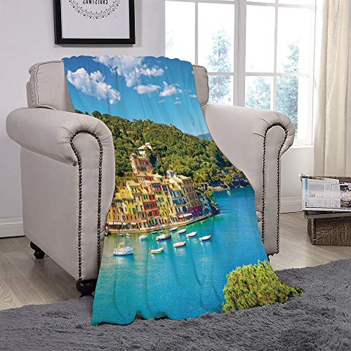(Light weight Fleece Throw Blanket/Italy,Portofino Landmark Aerial Panoramic View Village and Yacht Little Bay Harbor Decorative,Blue Green Yellow/for Couch Bed Sofa for Adults Teen Girls)