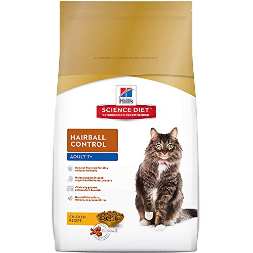 Hill's Science Diet Adult 7+ Hairball Control Chicken Recipe Dry Cat Food, 15.5 lb bag