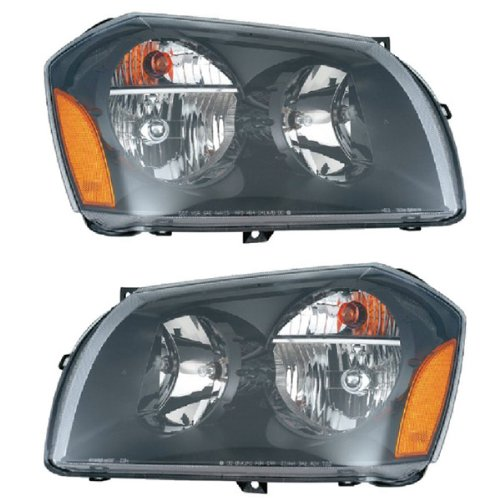 2005 2006 2007 2008 Dodge Magnum 2-Door Coupe or 4-Door Sedan (DX EX LX DXG) Headlight Headlamp Composite Halogen Front Head Lamp Light (with Black Background) Set Pair Left Driver AND Right Passenger Side (08 07 06 05)
