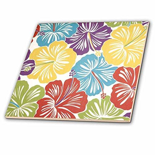 3dRose ct_60568_4 Vintage Hawaiian Hibiscus Print-Ceramic Tile, 12-Inch