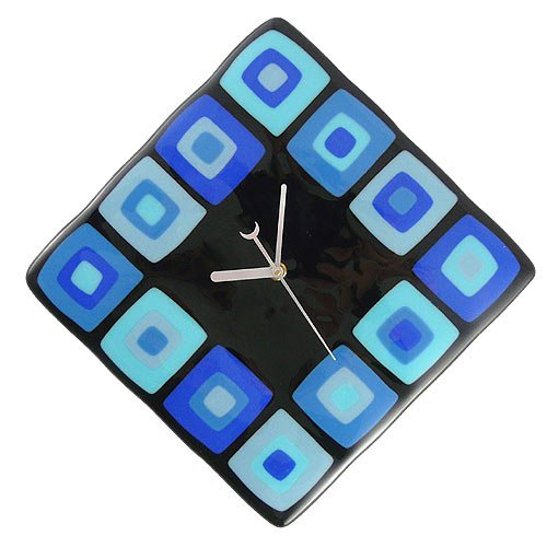 Retro Modern Squares Handcrafted Glass Clock - Blue Fusion, 12