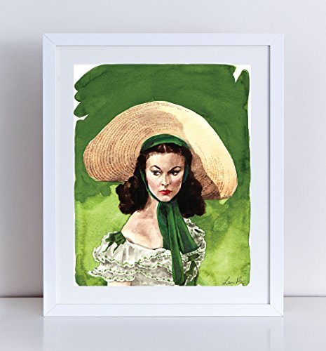 Scarlett O'Hara Vivien Leigh Giclee Print of Watercolor Painting 8 x 10, 11 x 14 inches Fine Art Poster Gone with the Wind Southern (Old Hollywood Movie Star Costumes)