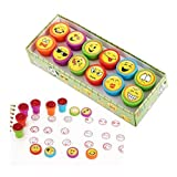 Amandaus Smiley Ink Pad, 12 Pieces from Ink Emoji Plastic Stamping Colorful Bright Smiley Face Expression Ink Stamp, Children's DIY Crafts, Party Gifts