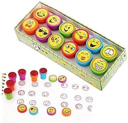 Amandaus - Almohadilla de tinta sonriente, 12 unidades de tinta de emoticono de plástico con estampado de emoticonos coloridos y brillantes con la cara sonriente: Amazon.es: Juguetes y juegos