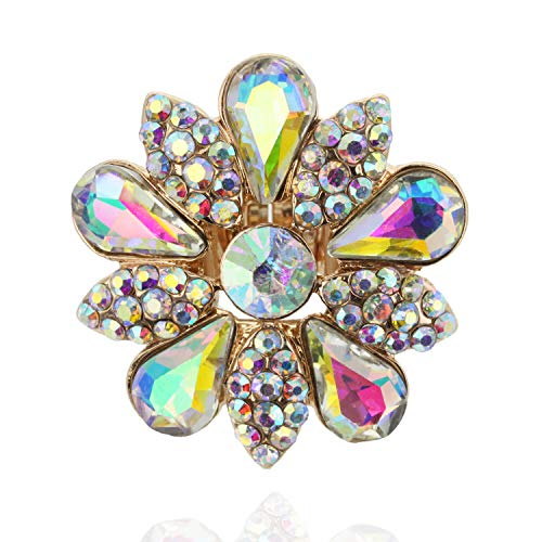 (SP Sophia Collection Fashion Flower Ring Embellished with Rhinestones and Austrian Crystals in Iridescent)