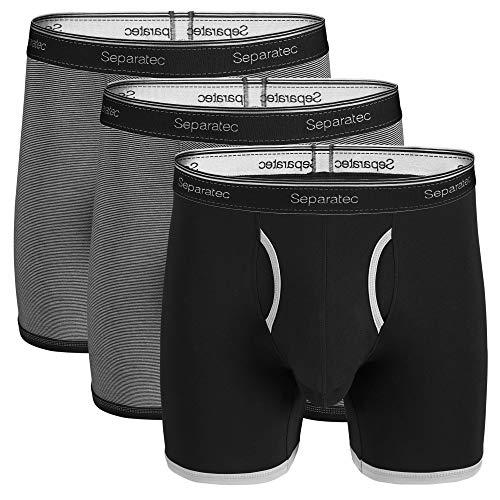 Separatec Men's Underwear Stylish Striped Comfort Soft Cotton Boxer Briefs 3 Pack