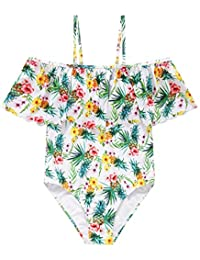 Wantdo Girl's Hawaiian Ruffle Swimsuit One Piece Floral Swimwear