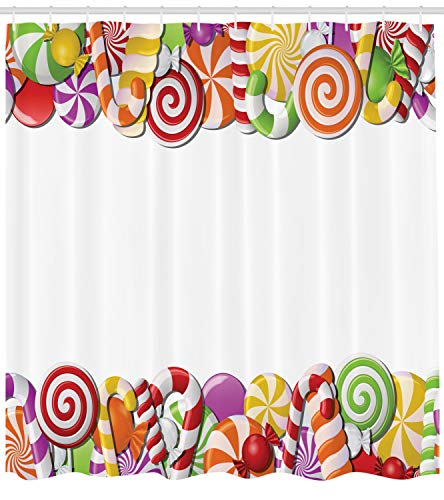 - Ambesonne Candy Cane Shower Curtain, Festive and Fun Framework with Colorful Cartoon Sweet Snacks Holiday Celebration, Cloth Fabric Bathroom Decor Set with Hooks, 75 inches Long, Multicolor