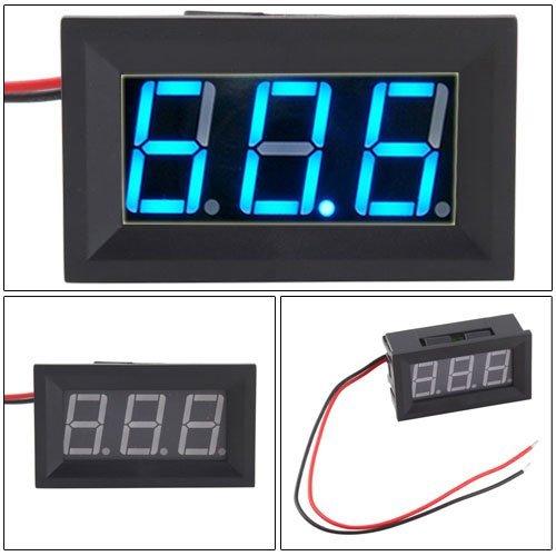 Hittime 2 Wire Blue LED Panel LED Display Voltage Meter (Led Digital Volt Panel Meter)
