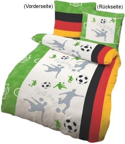 Bettwäsche Fußball Biber grün Größe 135x200 cm (80x80 cm)
