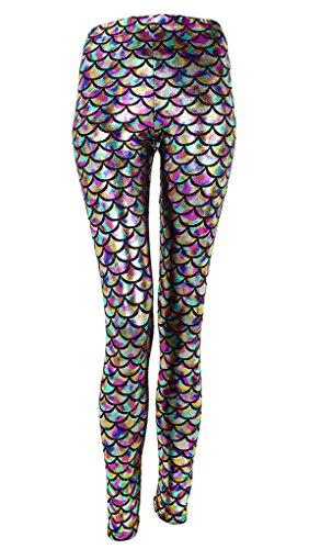 Ayliss New Mermaid Fish Scale Printed Leggings Stretch Tight Pants,Colorful S