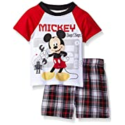 Disney Baby Boys' 2 Piece Mickey Mouse Plaid Short Set, Red, 0/3m