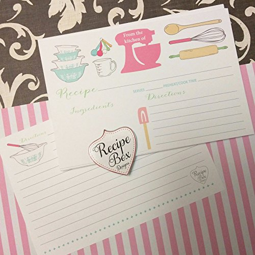 Recipe Cards 4x6 - 25 The Pink Mixer Recipe Card. Recipe Cards have lines on the back for addtional information