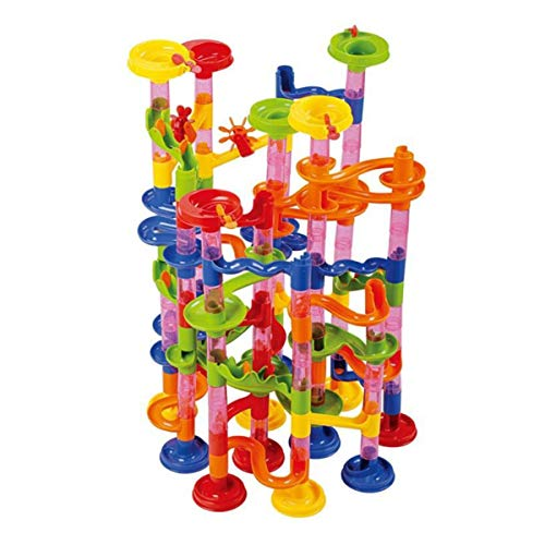 ENJSD Marble Run Set, 176 PCS Marble Race Track Toy for Kids, Construction Building Blocks Stem Toys Game for 4-9 Year Old Kids(146 Complete Pieces+30 PCS Glass Marbles + Installation Manual)
