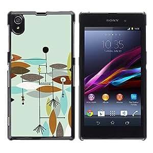 Be Good Phone Accessory // Dura Cáscara cubierta Protectora Caso Carcasa Funda de Protección para Sony Xperia Z1 L39 C6902 C6903 C6906 C6916 C6943 // Teal Painted Brown Abstract Lea