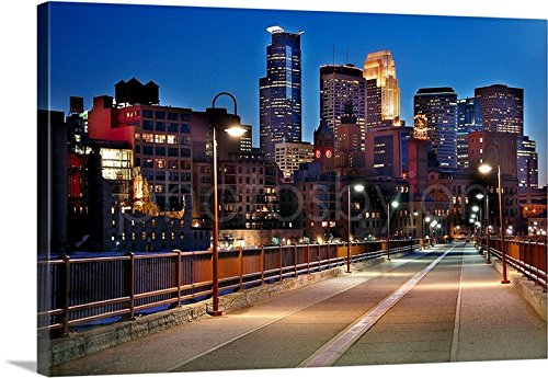 CANVAS Minneapolis Skyline DUSK 16 inches x 24 inches COLOR City Downtown Stone Arch Bridge Photographic Print Photo Picture