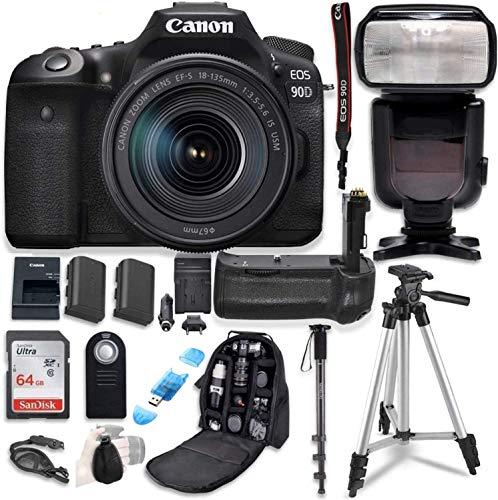 Canon EOS 90D Digital SLR Camera & 18-135mm USM Lens Bundle with Battery Grip & Professional Commander Optics Accessory…