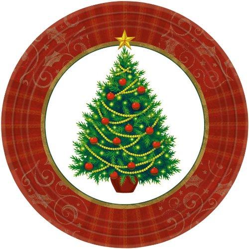 amscan Twinkling Christmas Tree Dessert Paper Plates, 50 Ct. | Party Tableware (Christmas Dessert Paper Plates)